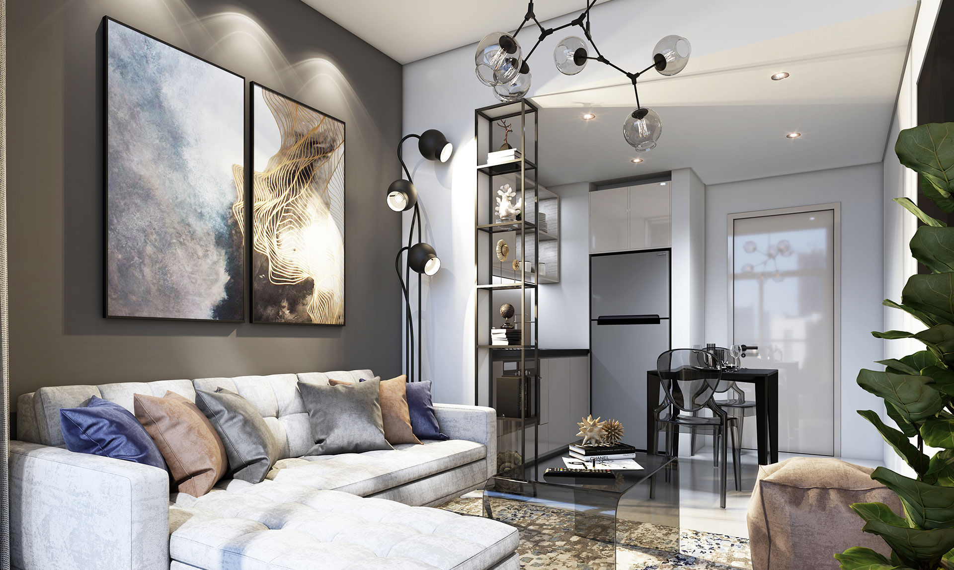 Damac Zada Living & Kitchen Area