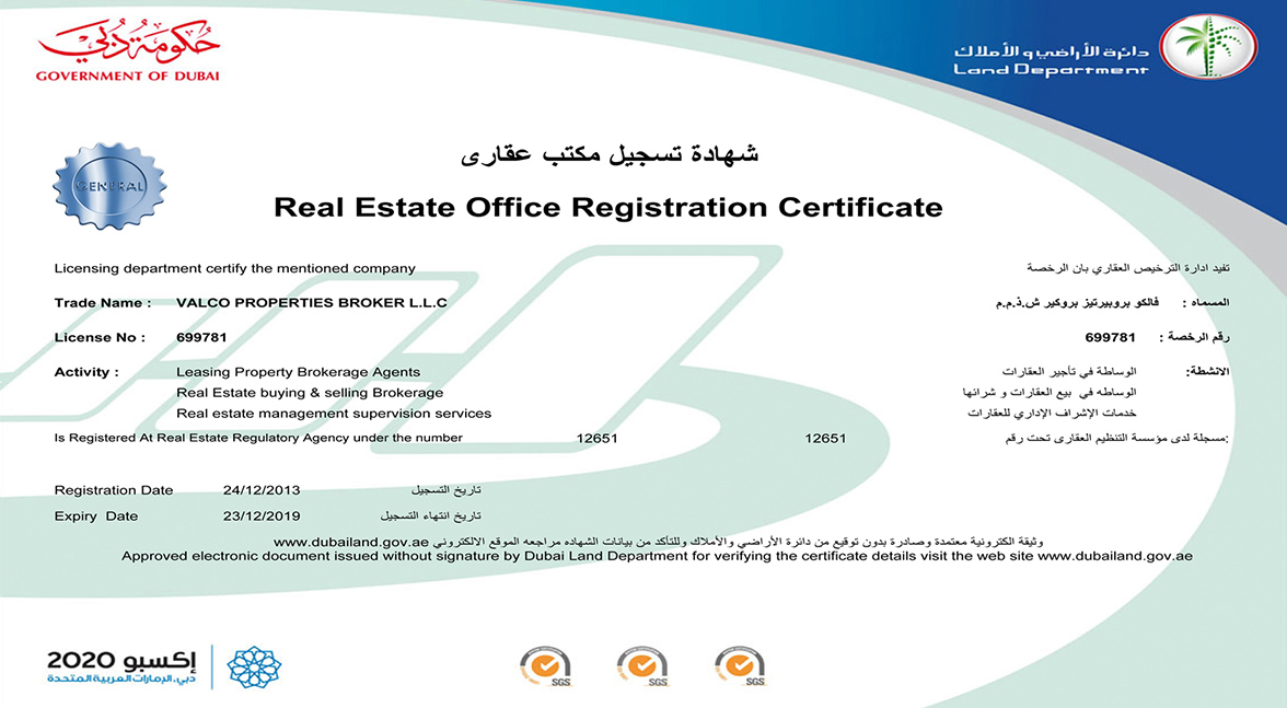 Real Estate Office Registration Certificate